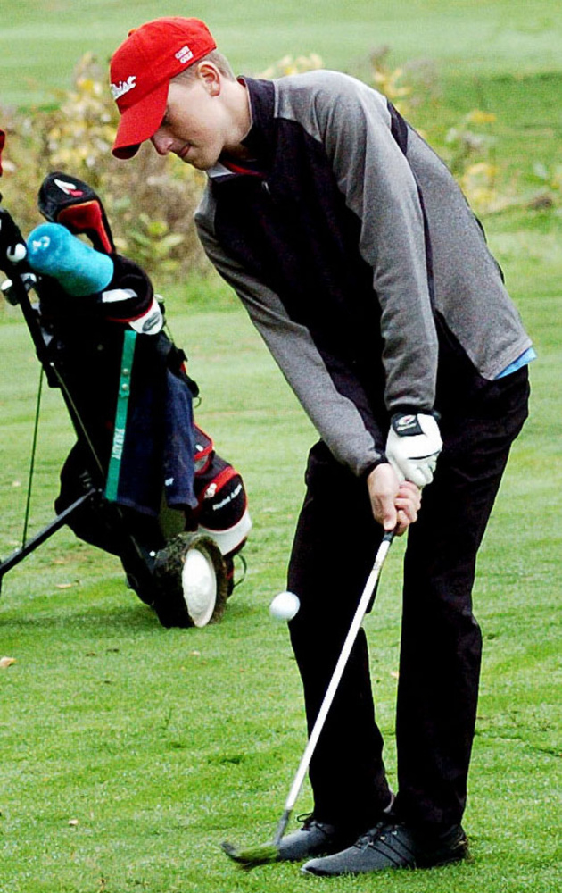 Michael Boivin of Cony chips during the Kennebec Valley Athletic Conference qualifier match Tuesday at Natanis Golf Course in Vassalboro.