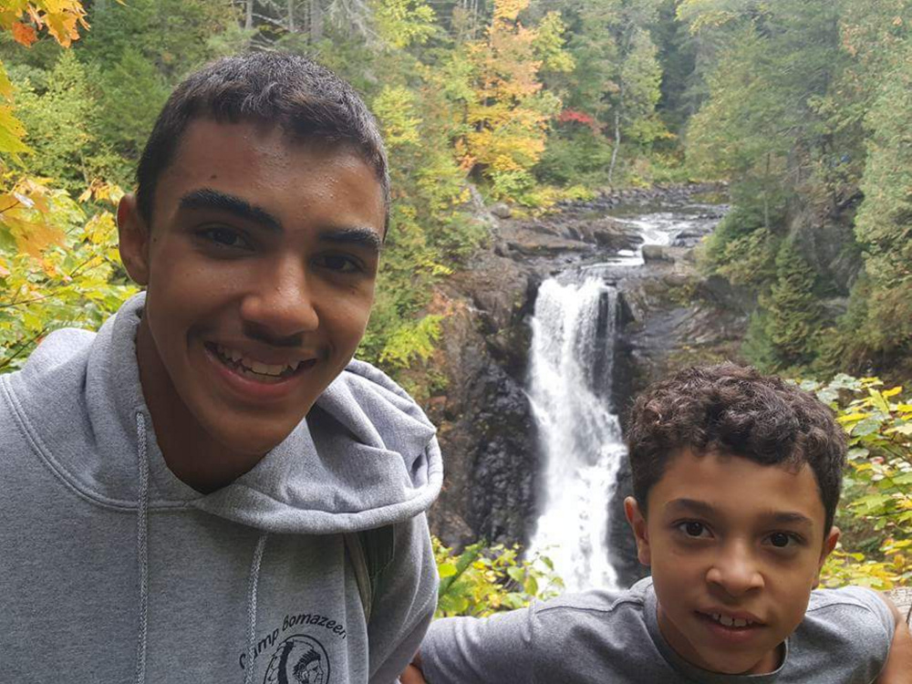 Daimian Lewis and Dominick Lewis II, Scouts from Troop 401 in Sidney visited Moxie Falls.