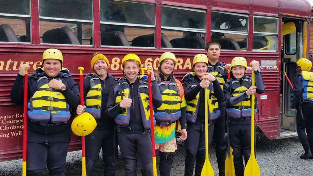 Scouts from Troop 547 in Temple get ready to head out on the rapids. From left are Zack Morrell and Mike Guerrette, both of Farmington; Xander Gurney, of Industry; Tracy Knapp, also of Farmington; Caleb Mulcahy, of New Sharon; Than Trauger, of Gardiner; and Russell Wheeler, also of New Sharon.