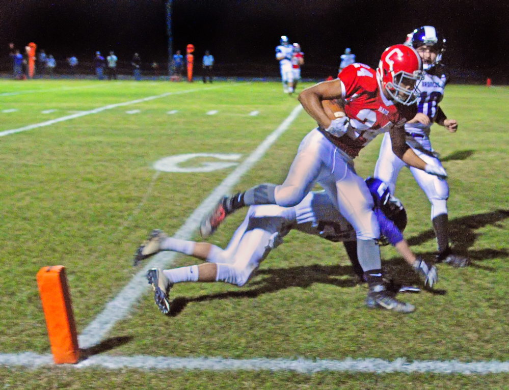 Cony's Jordan Roddy scores a touchdown against Hampden during a Pine Tree Conference B game Friday in Augusta.