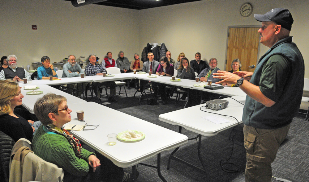 Winthrop Ambulance Chief John Dovinsky speaks during a Winthrop Lakes Chamber breakfast meeting on April 7, 2016 in Winthrop. Dovinsky will address the opiate crisis and what it means to the ambulance service at a forum in Winthrop on Wednesday.