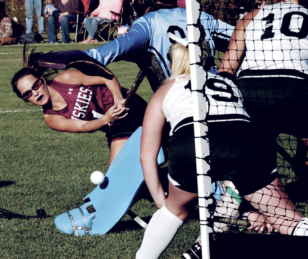 Maine Central Institute sophomore Madisyn Hartley shoots and scores a goal during a Class C North game against Mount View on Tuesday in Thorndike.