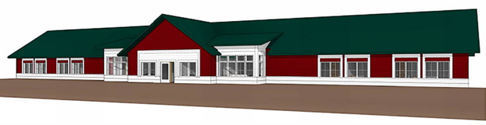 A concept drawing shows what the front of the new psychiatric facility would look like on the Riverview Psychiatric Center campus in Augusta.