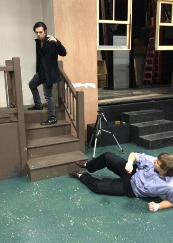 """Jonas Maines, left, and Tucker Atwood rehearse a scene from UMF's """"Wait Until Dark."""""""