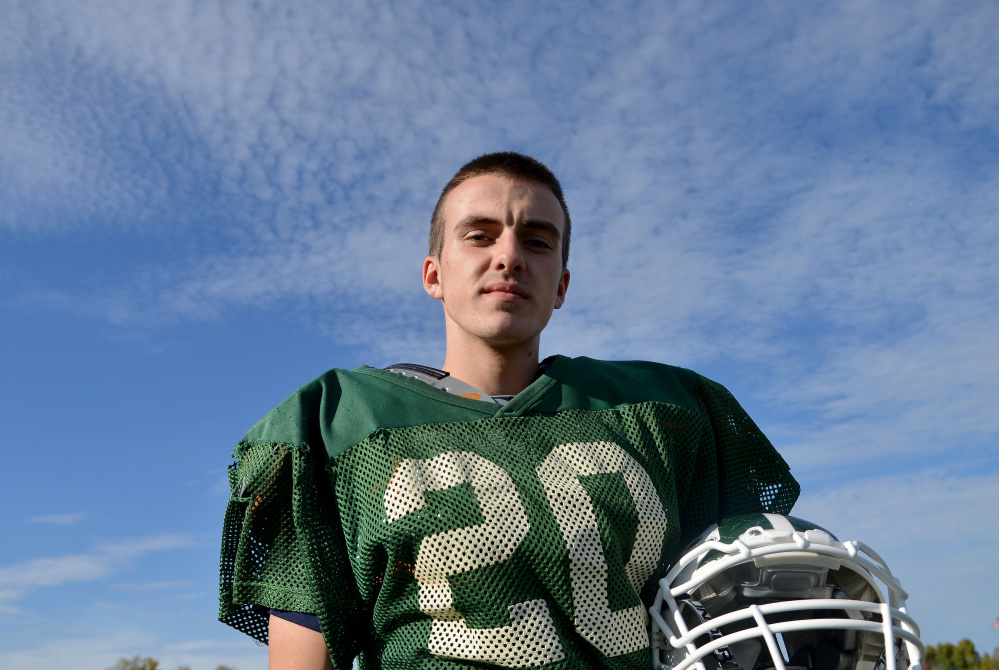 Mount View High School running back Colby Furrow poses at practice in Thorndike on Wednesday.