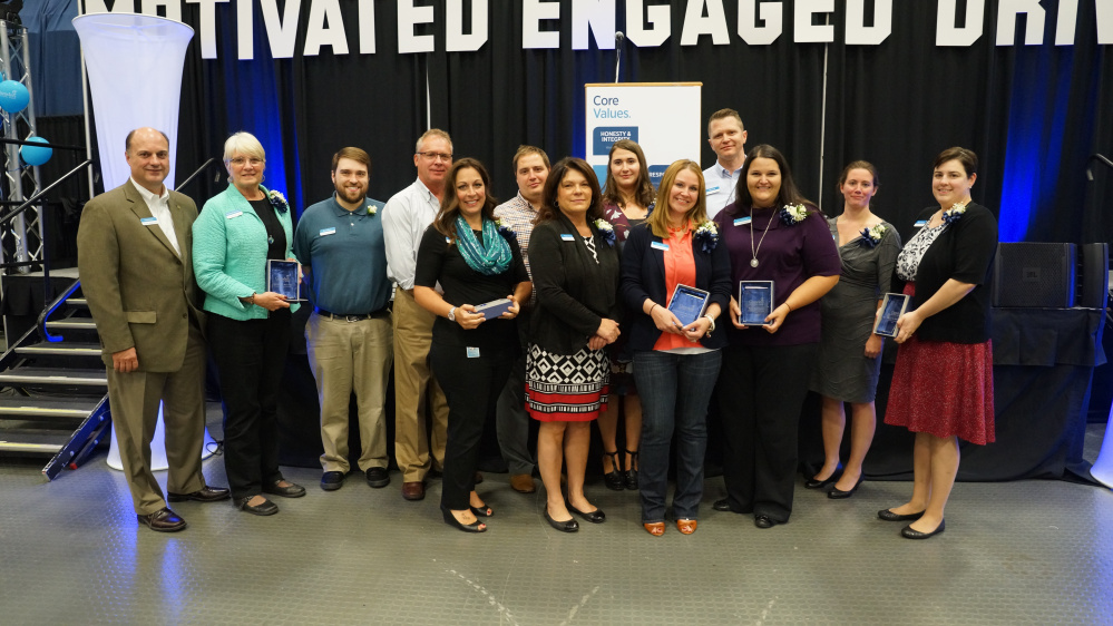 Camden National Bank's 2016 employee award winners appear with CEO Greg Dufour. From left are Dufour, MaryBeth Munroe, Brent Grace, Al Butler, Michelle Dunn, Ray Jean, Nancy Tracy, Kathleen Dodge, Libby Arrico, Josh Nash, Kate Bellmore, Suzanne Cifaldo and Megan Kennedy. Katie Rose and Andrew Eugley are missing from the photo.