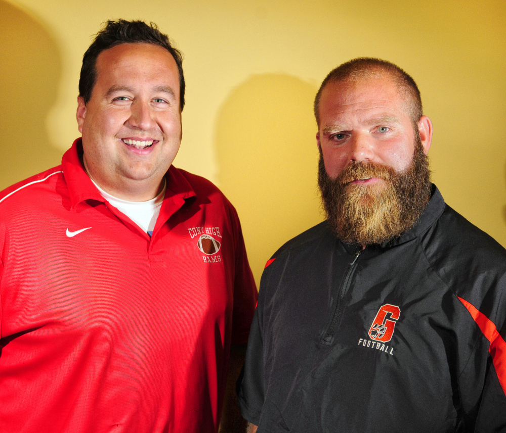 Cony football coach B.L. Lippert and Gardiner coach Joe White will square off Friday night in the annual Cony-Gardiner rivalry game in Gardiner.