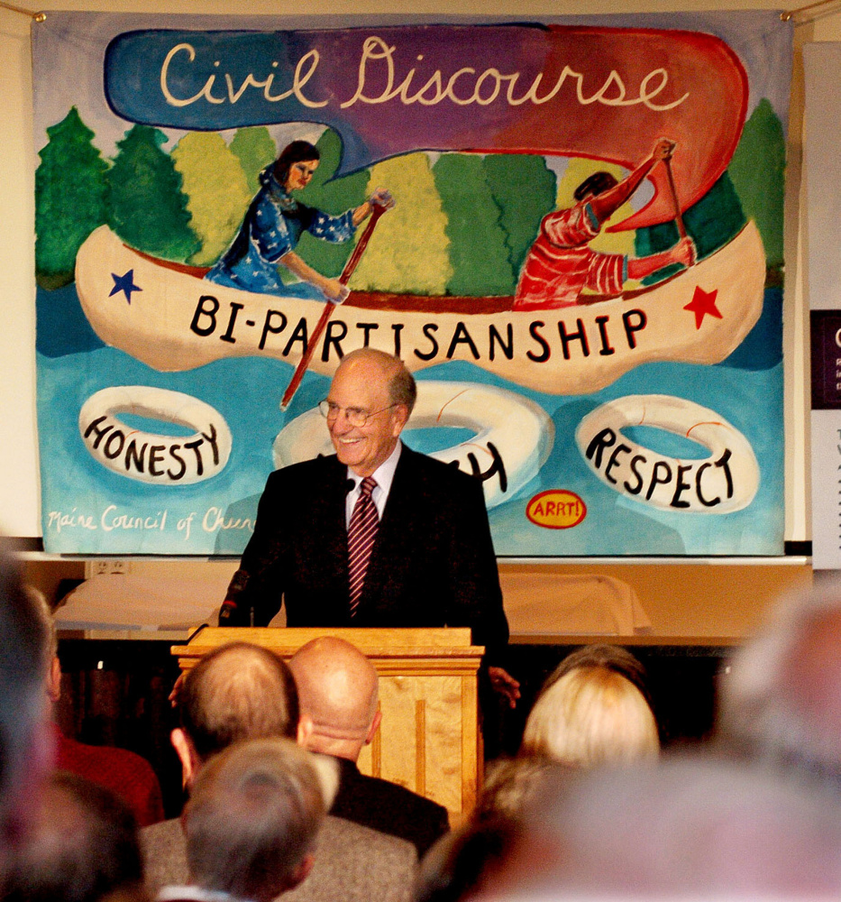 Former U.S. Sen. George Mitchell speaks about political civility Thursday during a Maine Council of Churches event in Waterville.