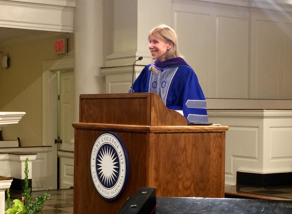 Journalist Alissa Rubin takes questions from the audience following her Lovejoy Convocation address at Colby College Monday night.