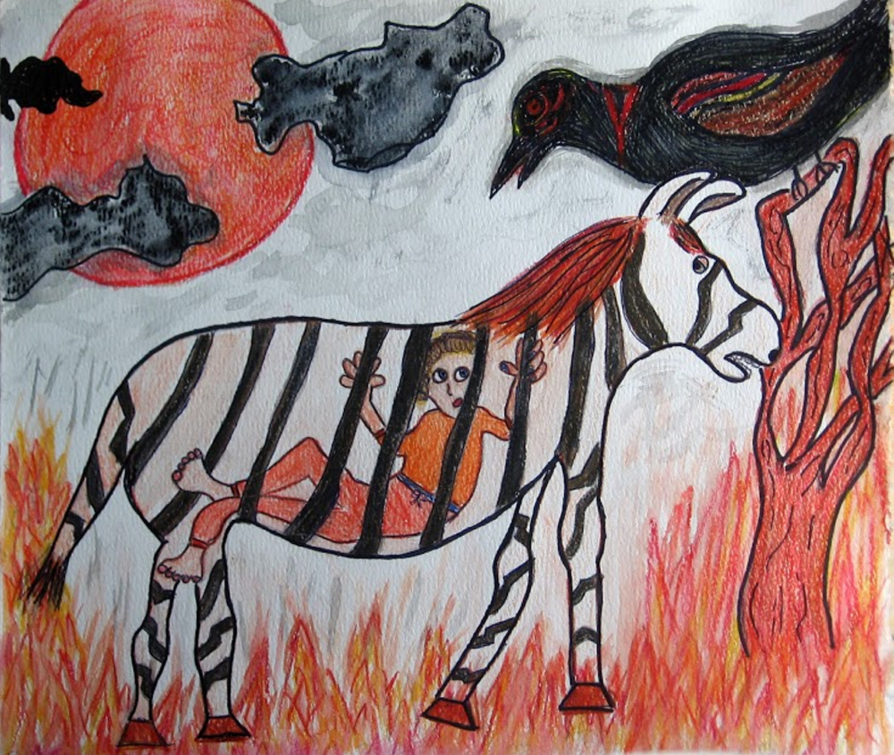"""Contributed photo """"Zebra"""" by Cindy Dow is featured in the exhibition """"Doors: Art & Poetry from LINC and WSC"""" on view Oct. 28-Dec. 3 at Harlow Gallery."""