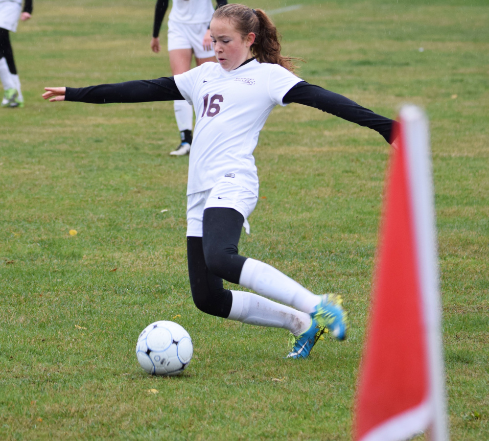 Richmond freshman Abby Johnson tries to collect the ball during a Class D South semifinal against Rangeley on Saturday morning. Johnson scored a goal in a 7-0 victory.