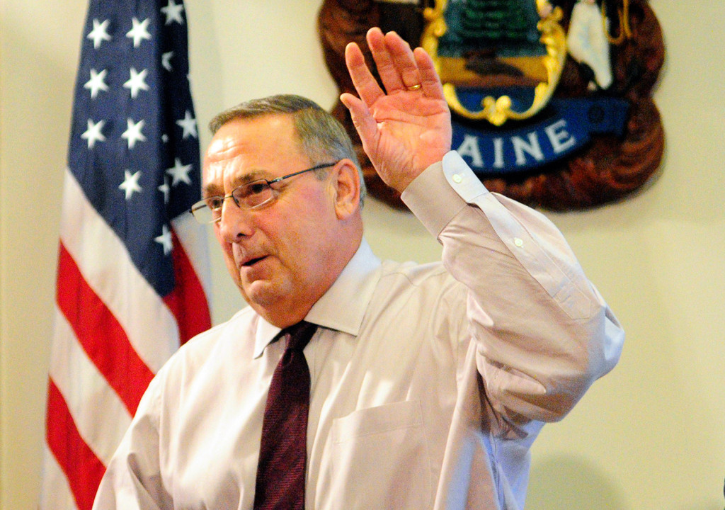 Gov. Paul LePage speaks at a press conference in Augusta on Oct. 12.