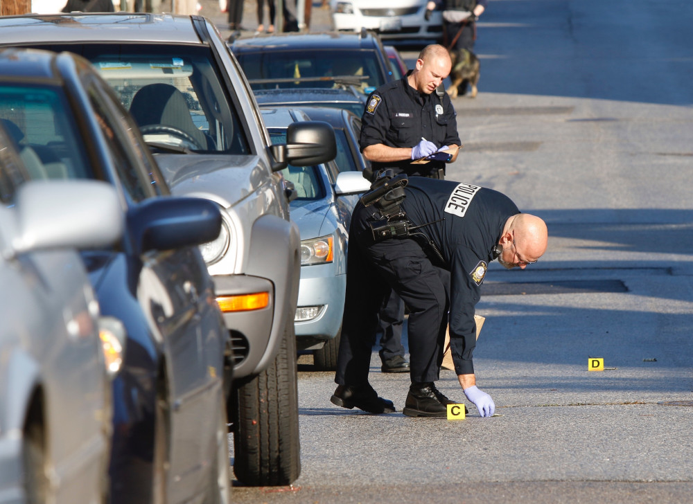 Portland police investigate a shooting on Gilman Street on Wednesday morning.