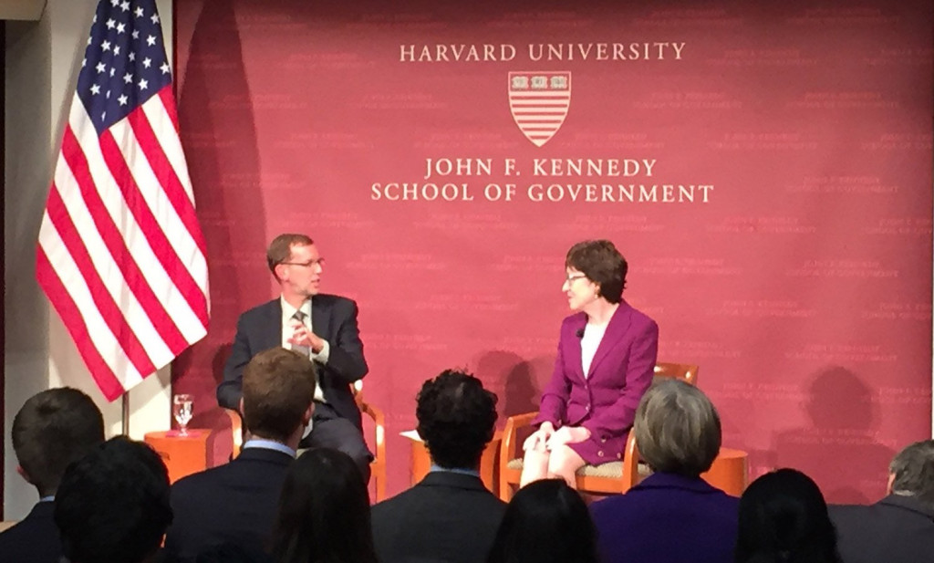 At Thursday's forum with Douglas Elmendorf, dean of Harvard's John F. Kennedy School of Government, Maine's Sen. Susan Collins said today's Congress reflects a polarized country.