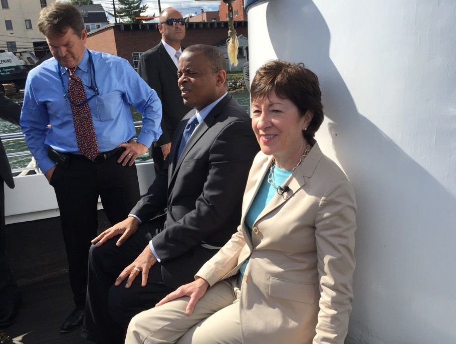 Sen. Susan Collins was in Kittery Monday to visit the Sarah Long Bridge along with U.S. Transportation Secretary Anthony Foxx.