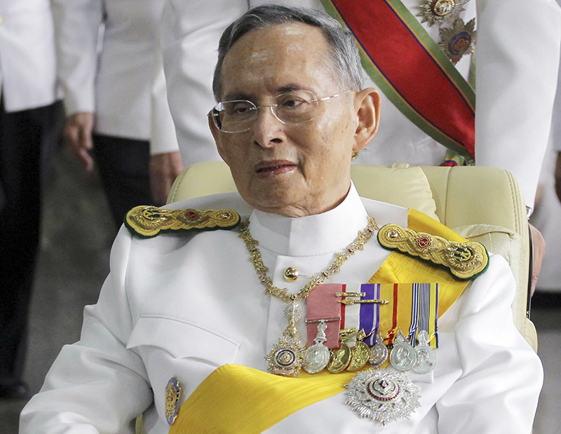 Thailand's King Bhumibol Adulyadej in 2011 on his way to the Grand Palace in Bangkok for a ceremony celebrating his birthday.