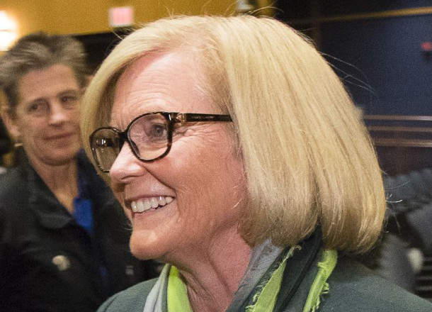 """Rep. Chellie Pingree greets supporters after a debate this week. """"I have worked hard to represent the district ... (and) focus on the issues that are most important to us,"""" she says."""