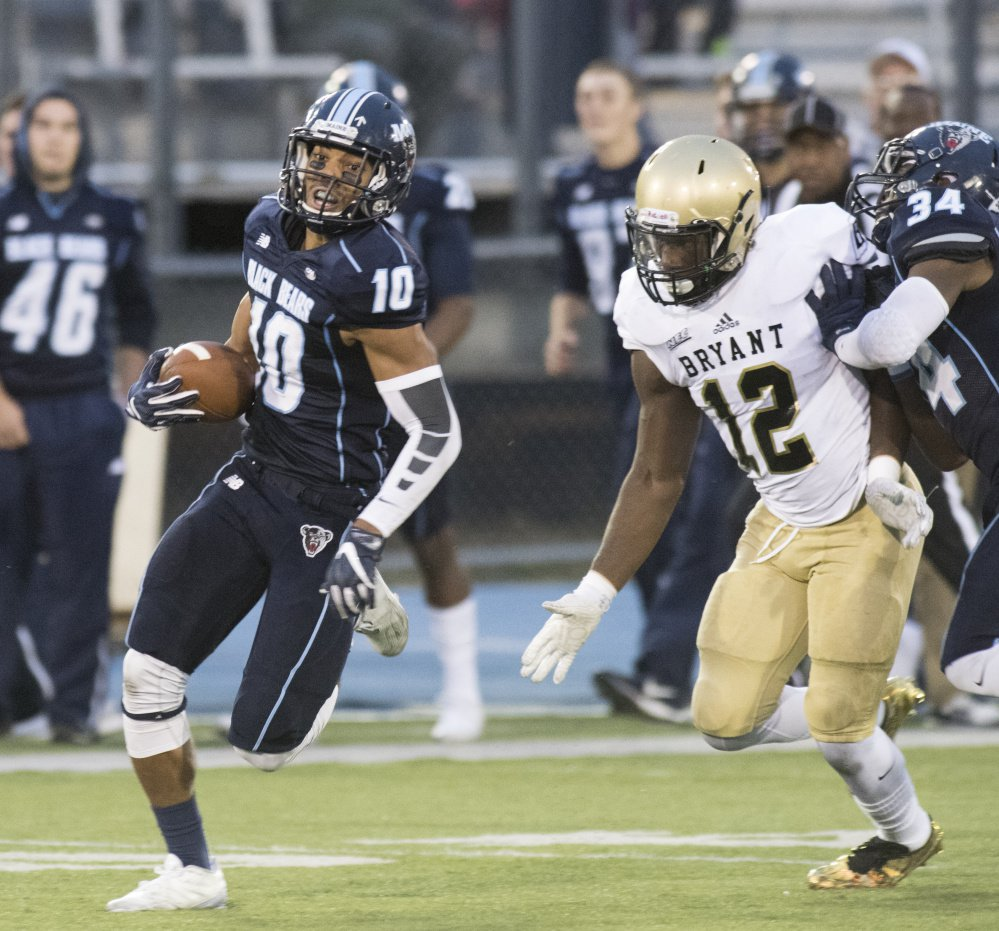 Micah Wright had a 53-yard punt return against Bryant that set up a touchdown in a come-from-behind victory for UMaine, and a 67-yard return for a touchdown last weekend in a pivotal win over William & Mary.