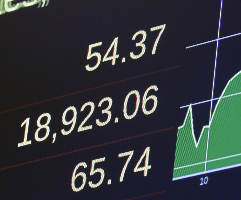 A screen at the New York Stock Exchange shows Tuesday's closing for the Dow Jones industrial average.