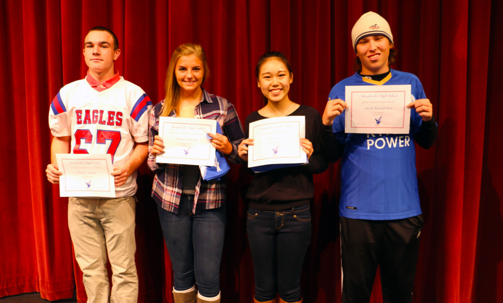 Messaloskee High Schools October Students of the Month, from left, Taylor Doone, Elena Guarino, Emma Ye and Jacob Bernatchez.