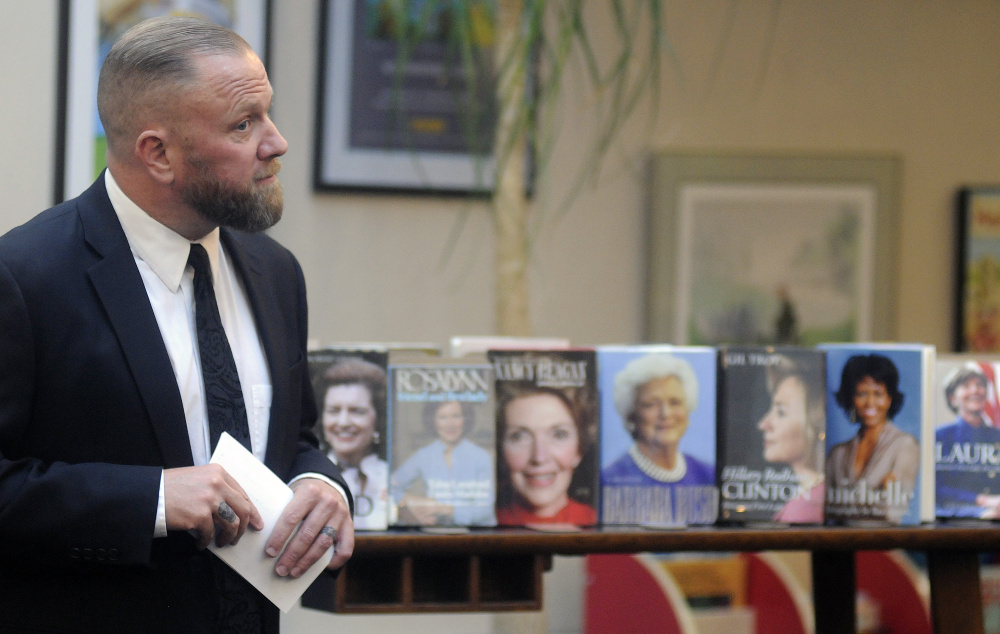"""Andrew Och discusses his book """"Unusual For Their Time: On the Road with America's First Ladies"""" on Tuesday at the Maine State Library in Augusta."""