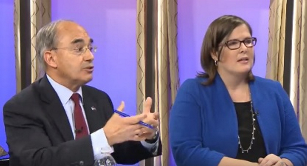 U.S. Rep. Bruce Poliquin, R-2nd District, debates Democratic challenger Emily Cain on Oct. 26 in a forum hosted by NBC affiliate WCSH6.