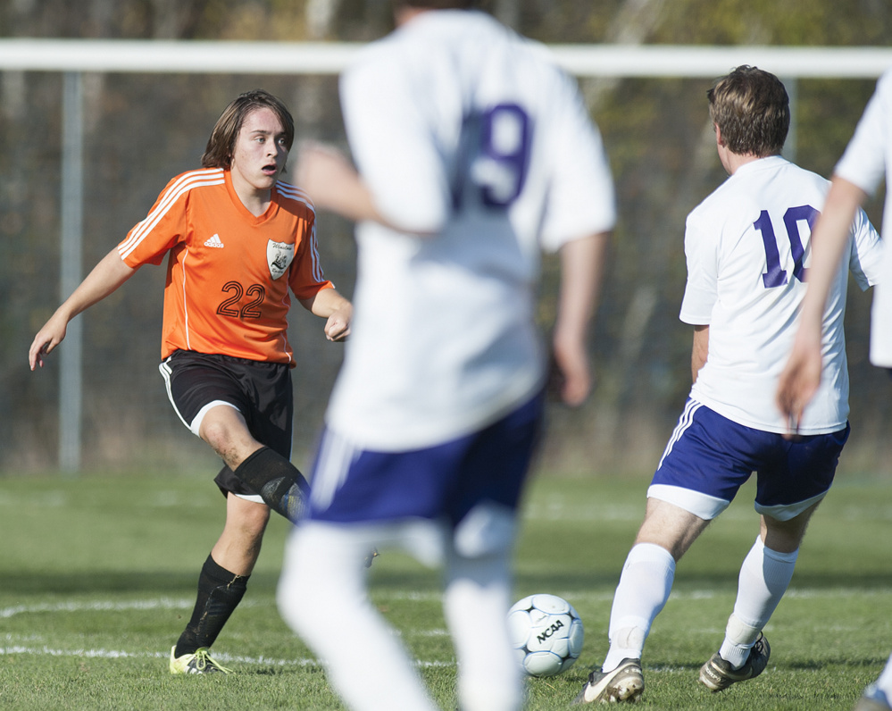 Winslow midfielder Sam Lambrecht looks for the ball during the Class B North final against John Bapst. Lambrecht has bounced back nicely this season after suffering a knee injury last year.