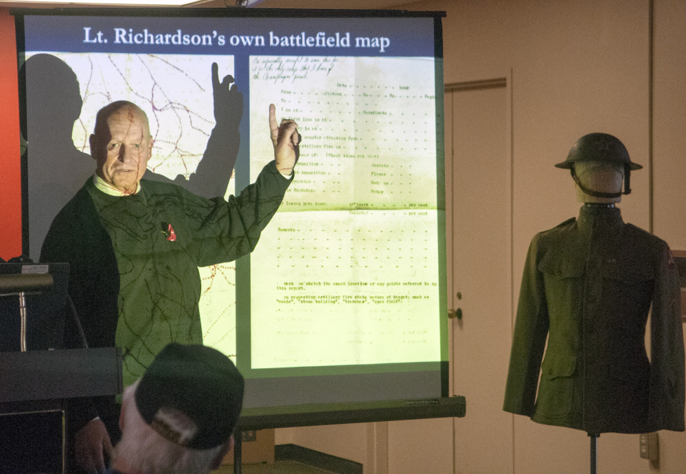 Retired historian Richard Colton gives a talk on World War I on Saturday in the Cultural Building in Augusta.