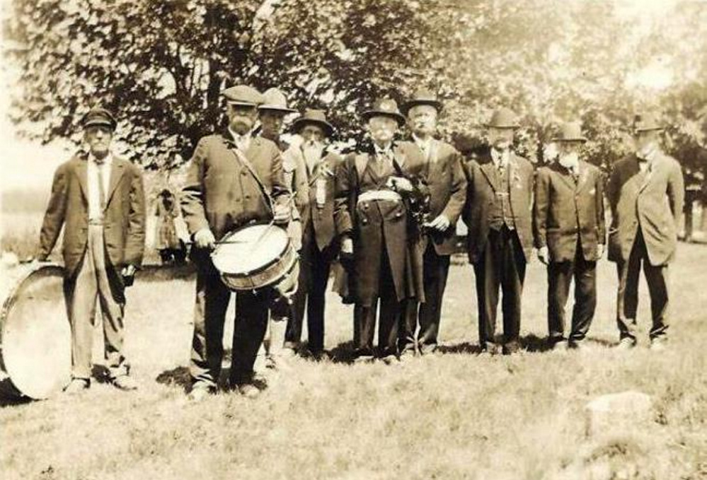 Readfield Civil War veterans at a Memorial Day parade in 1920. From left are unknown, unknown, unknown, Zink Kimball, John M. Williams, William Hackett, George Russell, George Armstrong and William Laughton. There are 48 Civil War veterans buried in Readfield, though not all were living in Readfield at their time of enlistment.