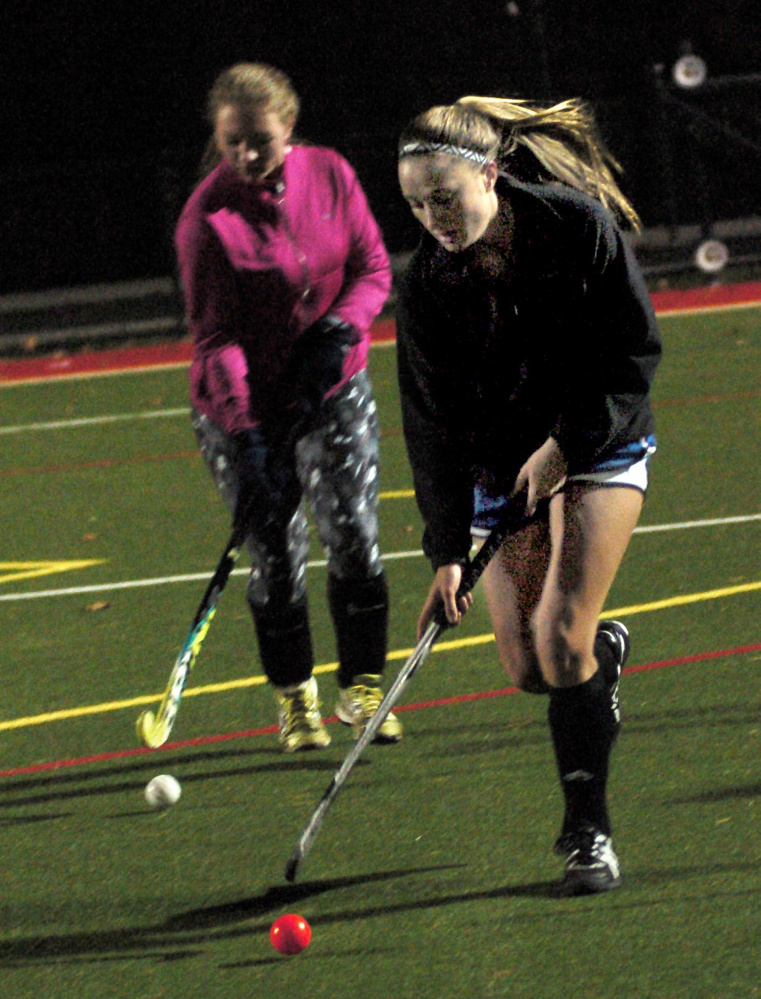 University of Maine at Farmington field hockey player Emma Spahr, a Winthrop graduate, practices Monday at Thomas College in Waterville.