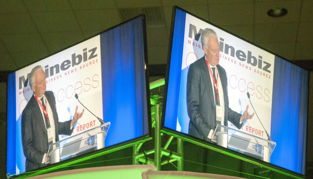 Eimskip Chairman of the Board Richard d'Abo's keynote speech is shown live on large screens TV around the auditorium last week in the Augusta Civic Center.
