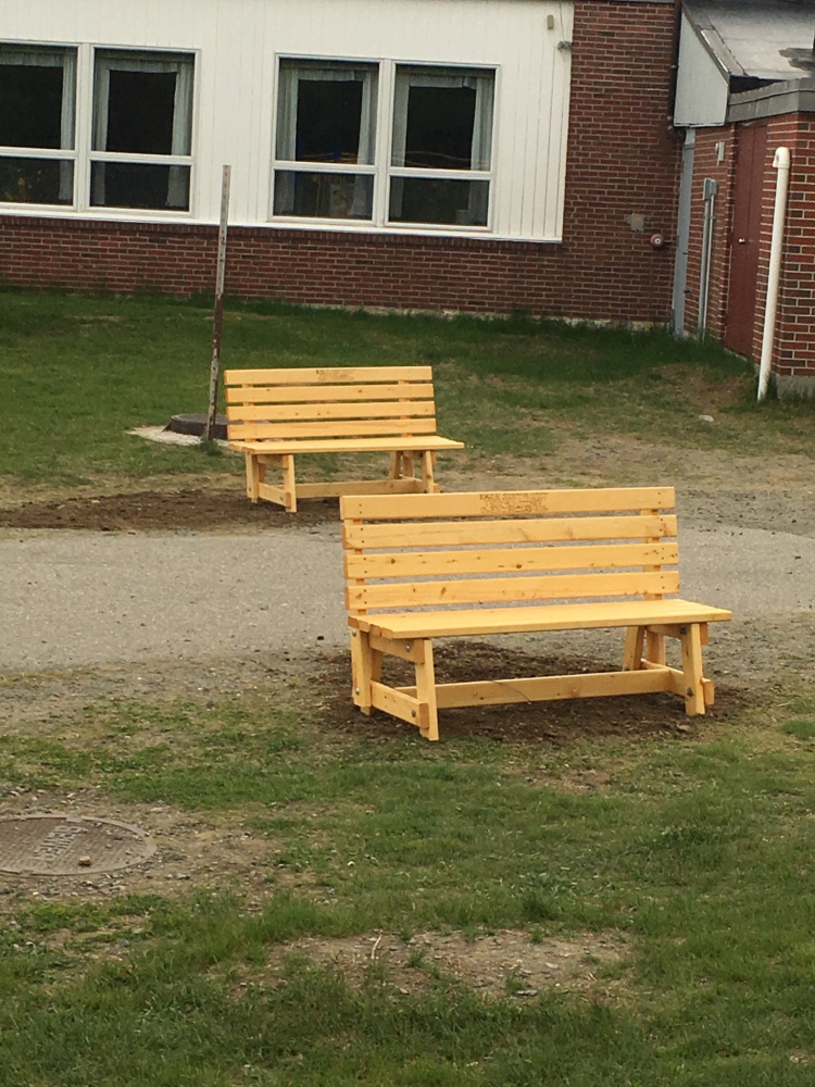 As his Eagle Scout Project, Owen Michael-Zeno Corrigan, with help from his fellow Moose Patrol Scouts and some adults, made eight garden benches for the James H. Bean School in Sidney.