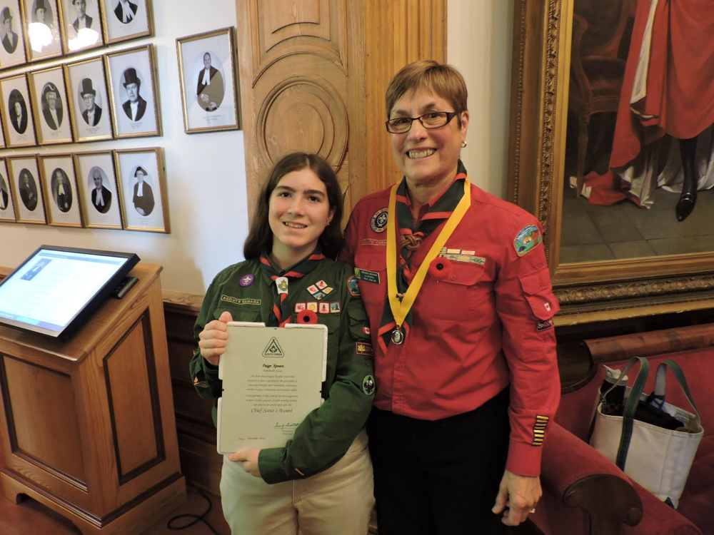 Paige Spears, left, and Scoutmaster 1st Ketepec Brenda Graham in the chambers of Parlaiment.