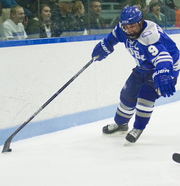 EJ Rauseo, a forward, is a captain this season for Colby College