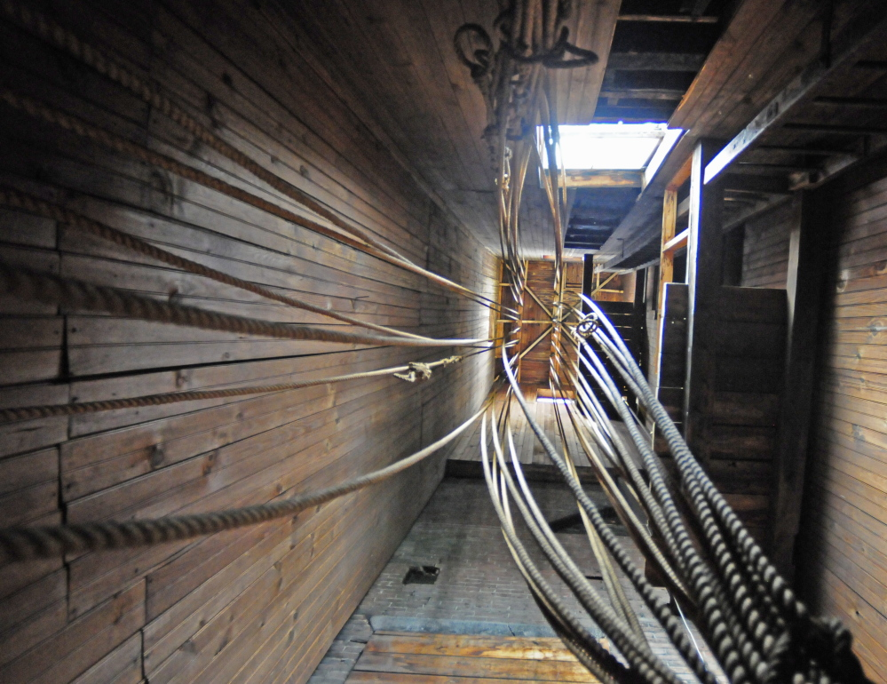 Ropes hanging in the old hose drying tower are seen in this photo taken in 2014 in the Hallowell fire house.