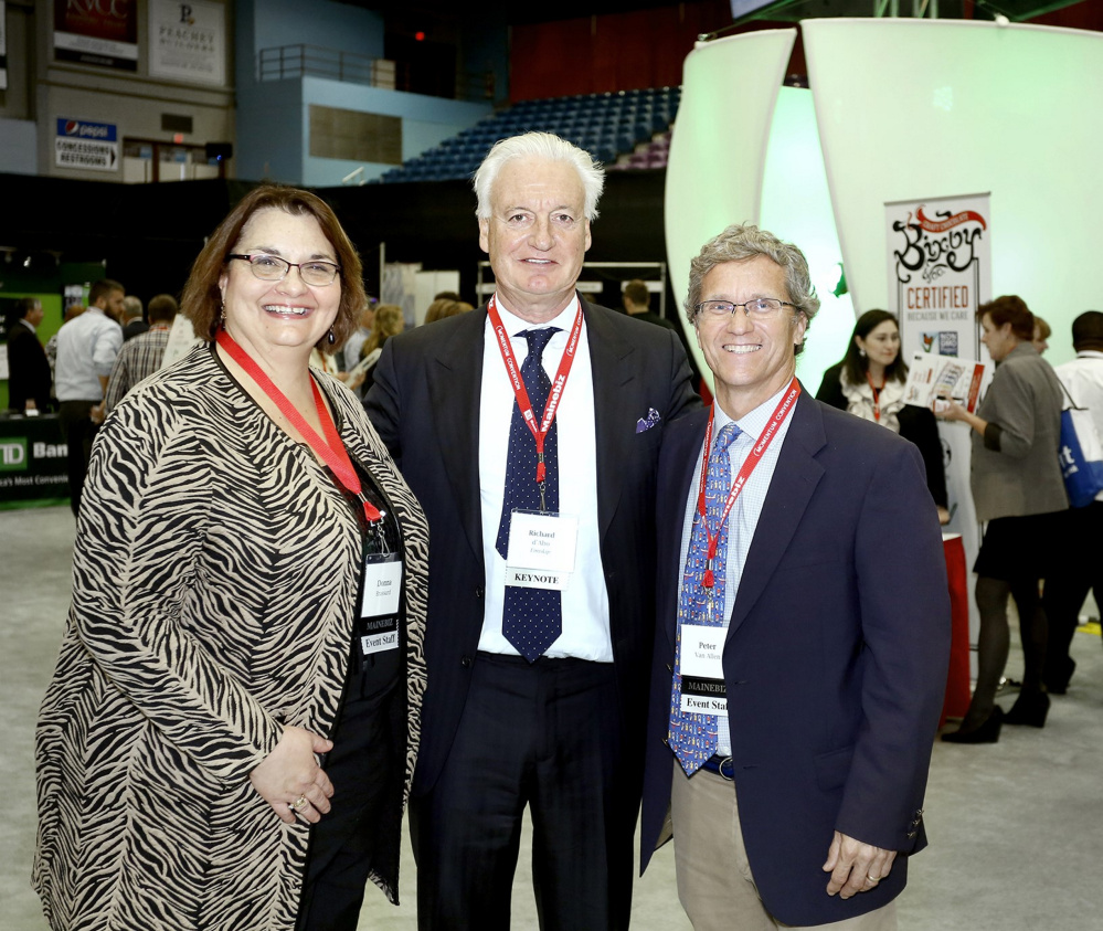 From left to right are Donna Brassard, publisher of Mainebiz, Richard D'Abo, chairman of the board of Eimskip, Peter Van Allen, editor of Mainebiz.