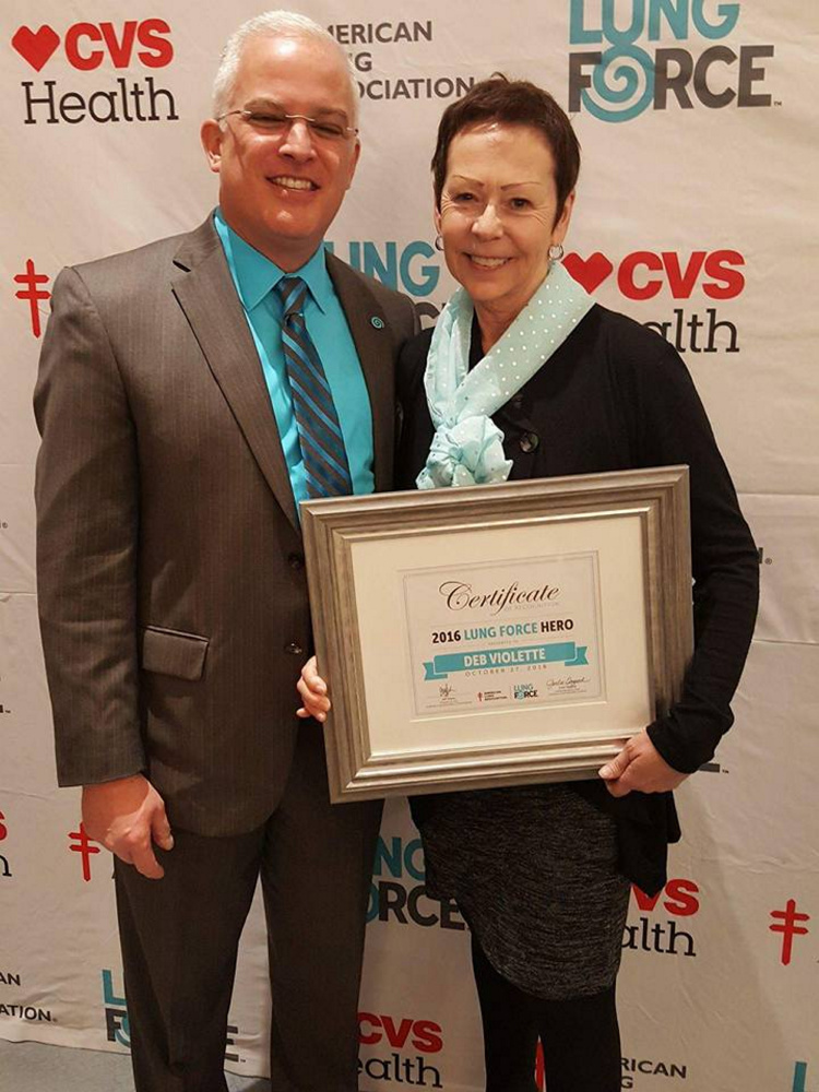 From left, are Jeff Seyler, president and CEO American Lung Association of the Northeast; and Deb Violette, president and CEO Free ME from Lung Cancer.