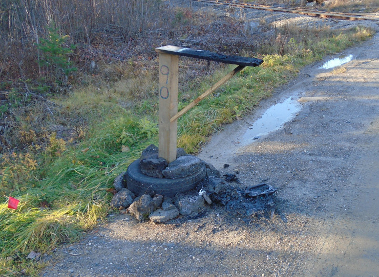 An image provided by the Waldo County Sheriff's Office shows a damaged mailbox among several reported cases of related vandalism.