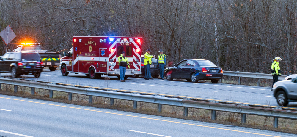 State police troopers and the Augusta Fire Department responded to reports of multi-car accidents Tuesday in the southbound lanes of Interstate 95 in Hallowell between the Maple Street overpass and the Central Street underpass.