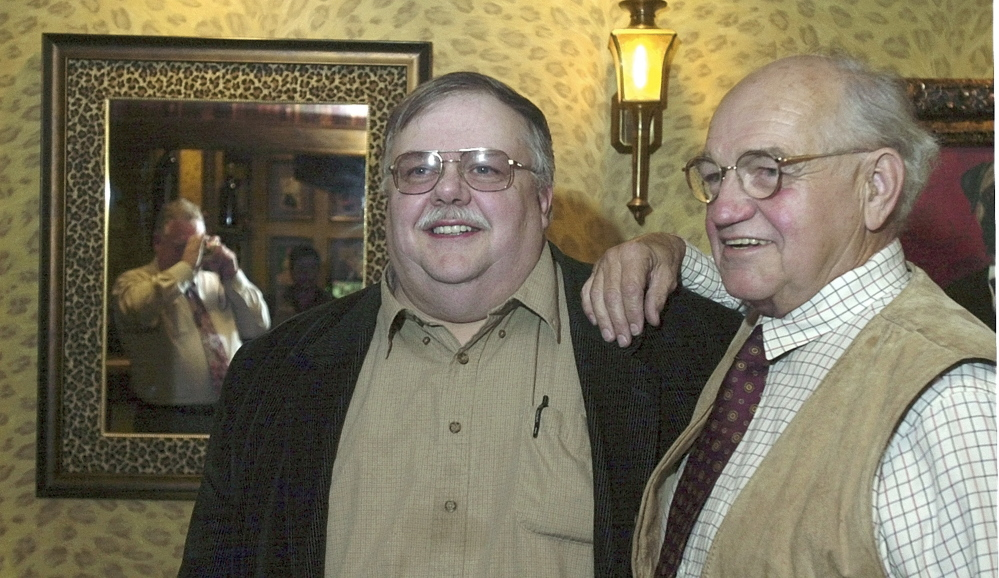 Actor and Augusta native Richard Dysart, right, who died in 2015, poses for a photo with Augusta businessman Roger Pomerleau on Oct. 6, 2003 at the Senator Inn & Spa in Augusta.