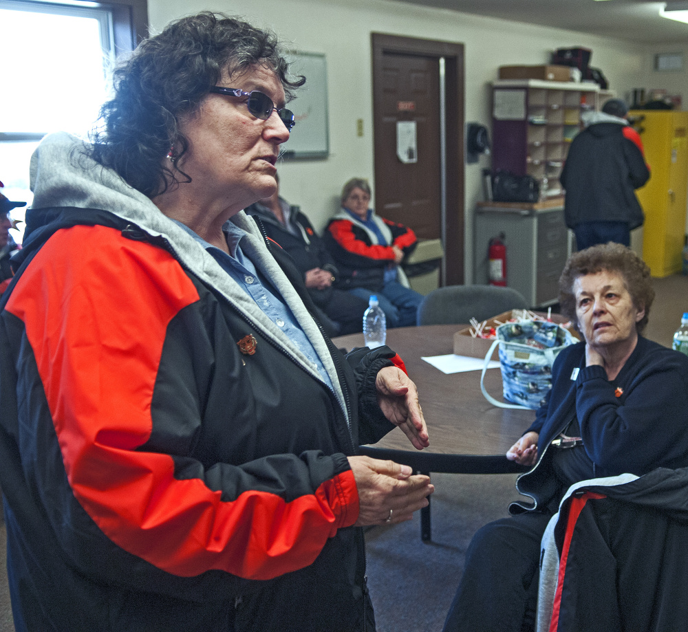 Dorothy Kirk, left, and Charlotte King answer questions during an interview Tuesday at the school bus depot in Gardiner.