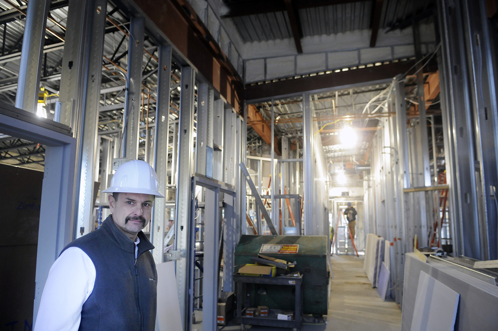 Augusta Fire Chief Roger Audette at the new fire station under construction on Leighton Road in Augusta on Wednesday.