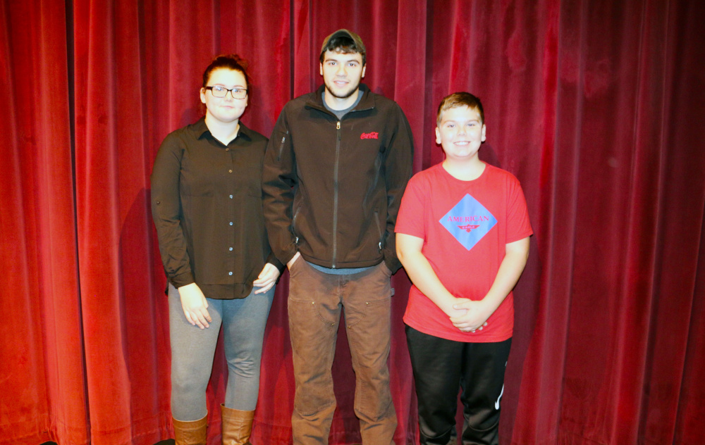 Messalonskee HighSchool has announced its November Students of the Month. From left are Caitlynne Scamman, Jared Thorne and Cooper Doucette. The sophomore Student of the Month will be announced in December because the student's parent(s) could not attend the recent ceremony.