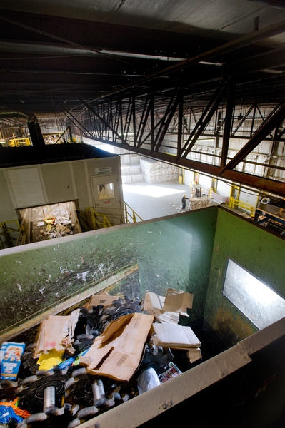 Sorting machinery is seen in operation at ecomaine, which is the company Waterville contracts with to dispose of its recyclables. The company says it will no longer accept plastic retail and grocery bags because the items clog up the sorting machines at its recycling facility in Portland.