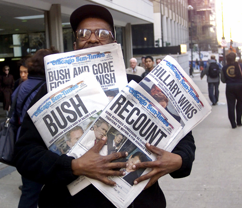 Different headlines, in Chicago on Nov. 8, 2000, reflecting a night of suspense, drama and changes.