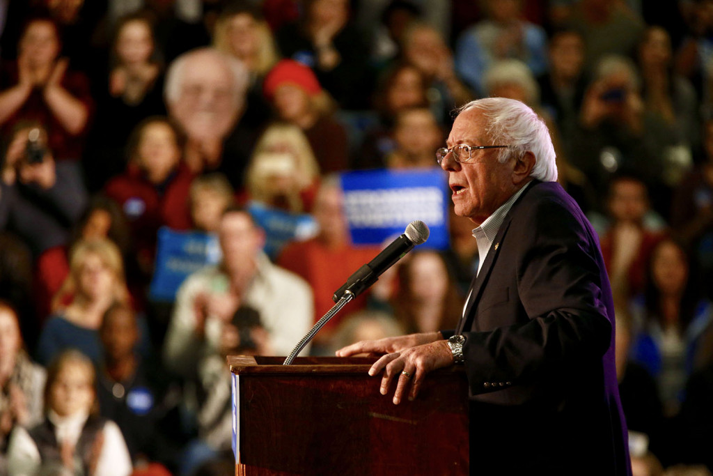 Bernie Sanders' campaign appearance Tuesday for Hillary Clinton drew more than 1,000 people to the Deering High School gym in Portland. Ben McCanna/Staff Photographer