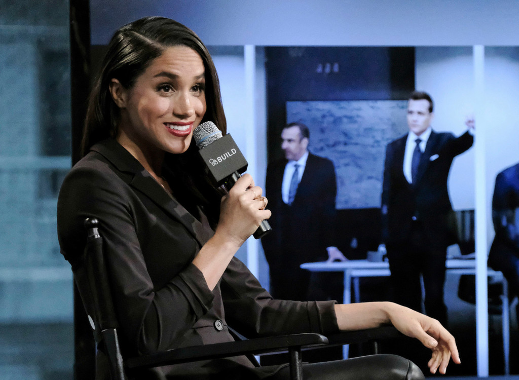 """Actress Meghan Markle discusses her role on the television show """"Suits"""" in New York in March. Britain's Prince Harry has condemned what he characterized as racist abuse and harassment of Markle, his girlfriend, in the media."""