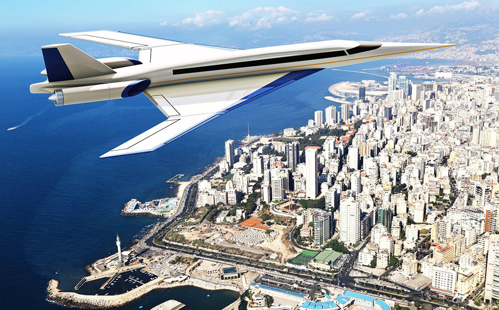 Spike Aerospace says its S-512 supersonic Jet will be the first aircraft  to offer supersonic flight at full cruising speed of Mach 1.6 (1,100 mph) without producing a sonic boom on the ground. <em>Spike Aerospace artist's rendering</em