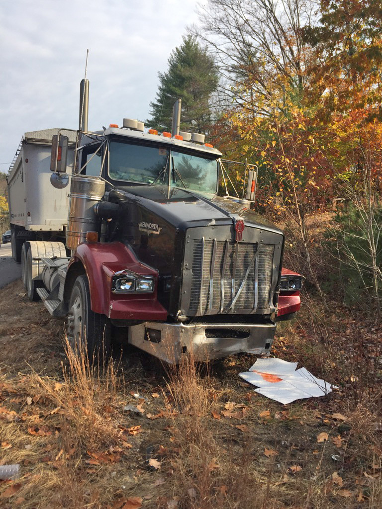 The tractor-trailer that was involved in a collision on Route 202 Wednesday morning. The driver was not injured in the wreck <em>Photo courtesy of Maine Department of Public Safety</em>