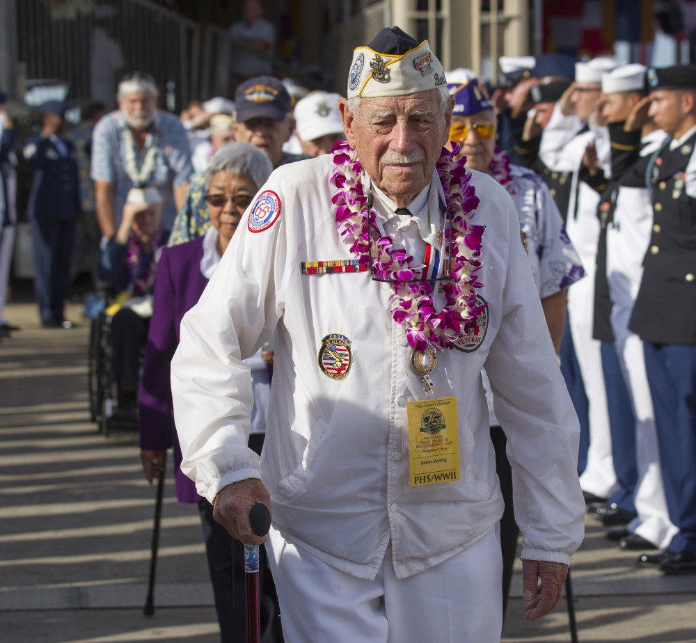 Delton Walling, a survivor of the attack, takes part in the 75th anniversary remembrance Wednesday at Joint Base Pearl Harbor-Hickam.